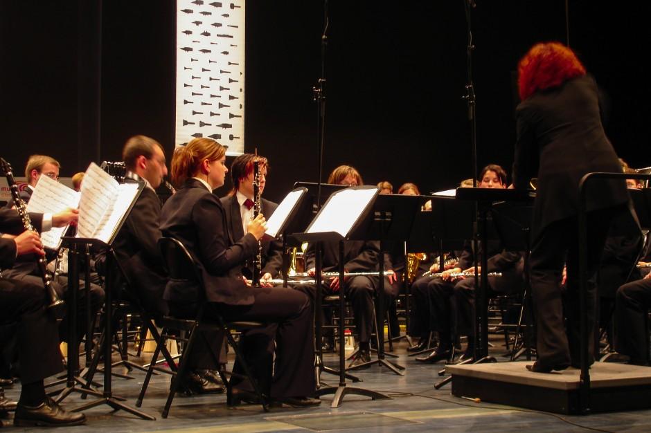 Das Blasorchester Feldmusik Neuenkirch bei ihrem Auftritt im Luzerner Saal des KKL Luzern.