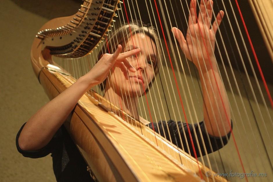 Harfenklänge untermalen das Spiel des Blasorchesters Feldmusik Neuenkirch