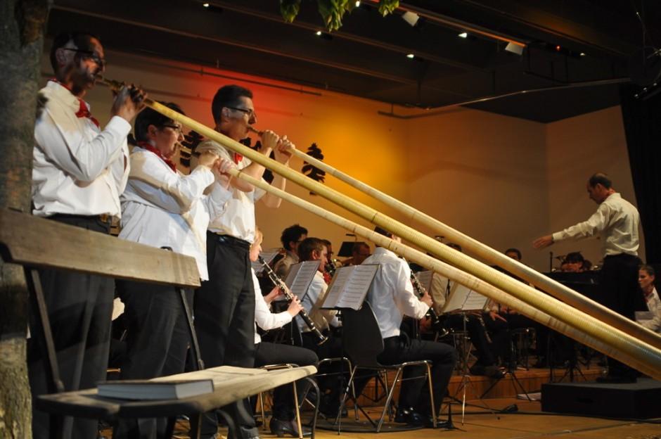 Alphorn Trio bestehend aus Musikanten des Blasorchester Feldmusik Neuenkirch (Bild: Eva Burri)